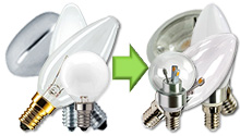 LED Lamp E14 230V vervangers