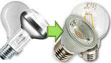 LED Lamp E27 230V vervangers