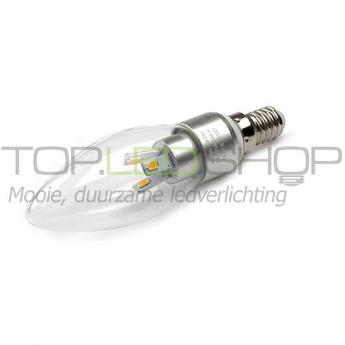 LED Lamp 230V, kaars, 3W, Warmwit, E14, helder