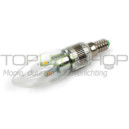 LED Lamp 230V, kaars, 4W, Warmwit, E14, dimbaar, helder