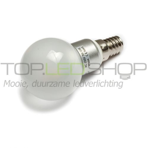 LED Lamp 230V, bol, 3W, Warmwit, E14, dimbaar, mat
