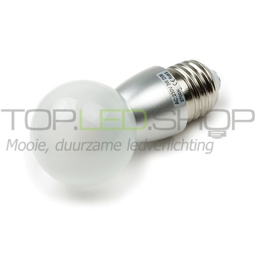 LED Lamp 230V, bol, 3W, Warmwit, E27, dimbaar, mat