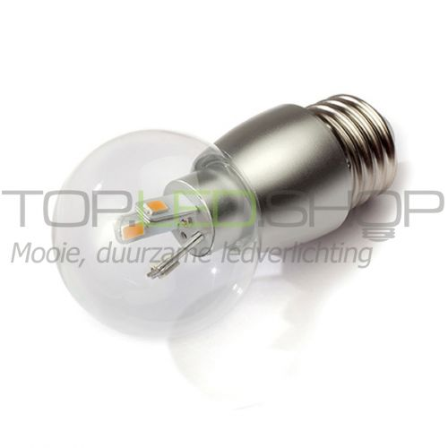 LED Lamp 230V, bol, 3W, Extra Warmwit, E27, dimbaar, helder