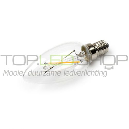 LED Lamp 230V, kaars, 2W, Filament, Warmwit, E14, helder