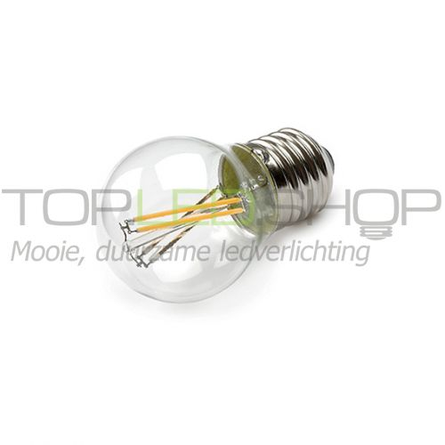 LED Lamp 230V, bol klein, 4W, Filament, Warmwit, E27, helder