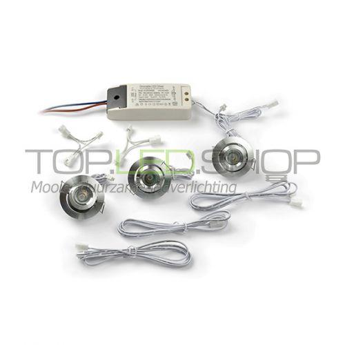 LED Mini spot Lamp, 3W, warmwit, dimbaar, alu, set