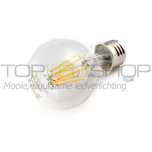 LED Lamp 230V, bol, 6W, Filament, Warmwit, E27, helder, dimbaar