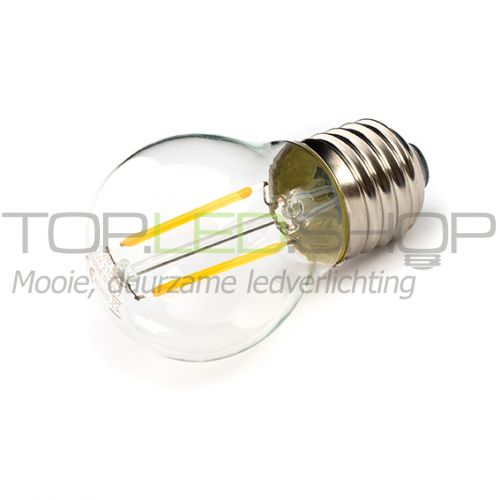 LED Lamp 230V, bol klein, 2W, Filament, Warmwit, E27, helder