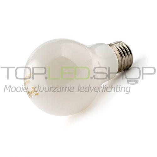 LED Lamp 230V, bol, 6W, Filament, Warmwit, E27, opaal
