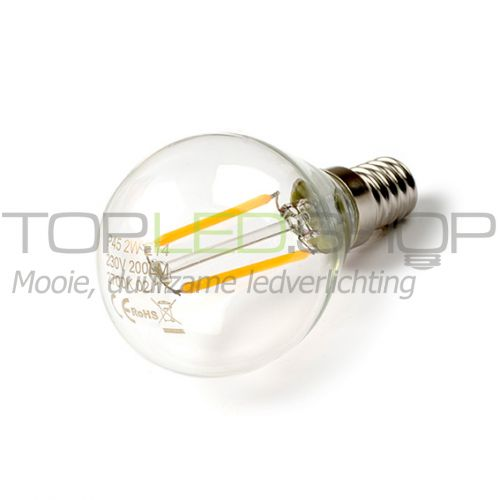 LED Lamp 230V, bol, 2W, Filament, Warmwit, E14, helder