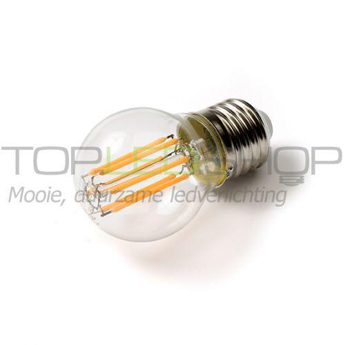 LED Lamp 230V, bol klein, 5W, Filament, Warmwit, E27, helder, di