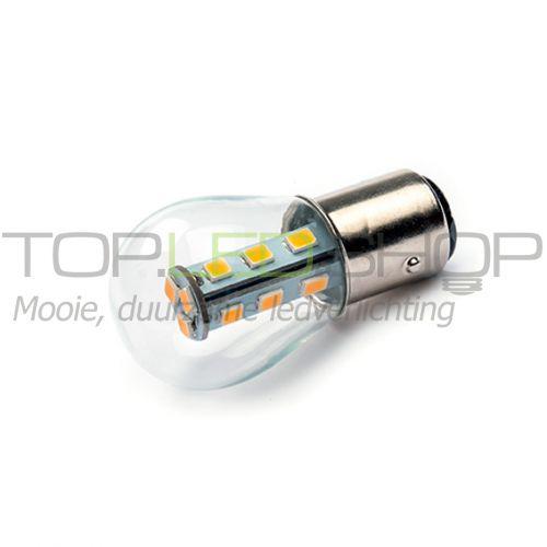 LED Lamp 12V, 2W, BAY15D, Warmwit, bol, dimbaar